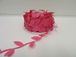 2 metres or 10 metre Full Roll 38mm  FUCHSIA BRIGHT PINK  Leaf Garland Ribbon double UK VAT Reg